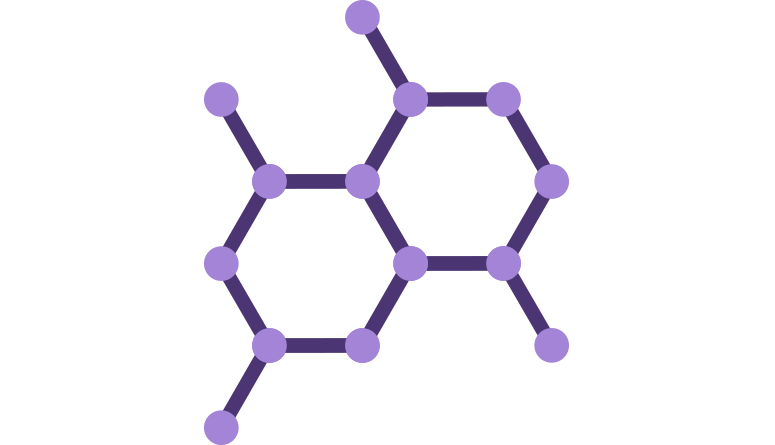 structure hexagonale mauve d'une molécule