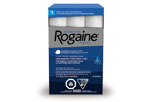 boîte du traitement pour la repousse des cheveux ROGAINE® (mousse à 5 %) pour hommes