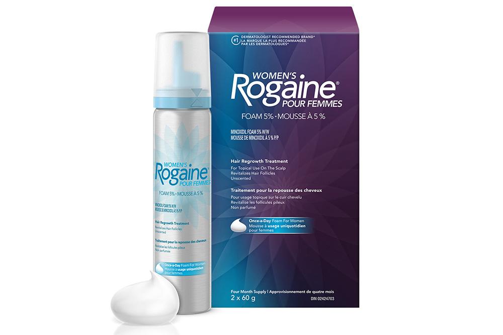 boîte et cannette du traitement pour la repousse des cheveux ROGAINE® pour femmes