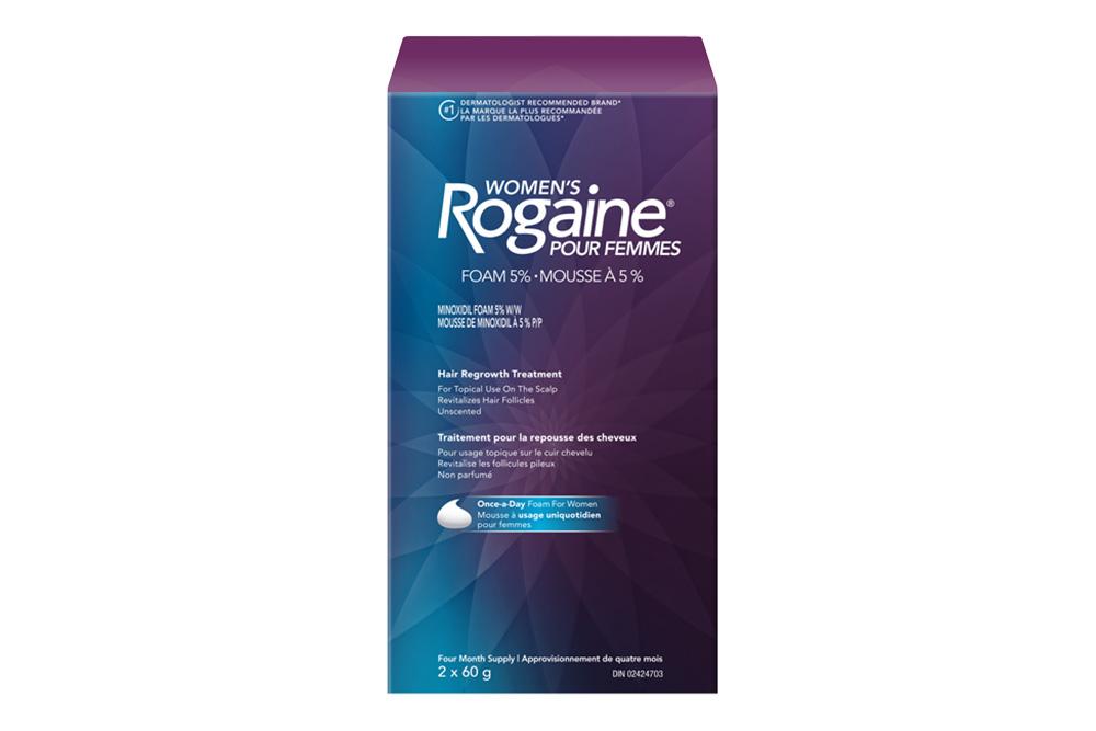 boîte du traitement pour la repousse des cheveux à 5 % de minoxidil, pour femmes