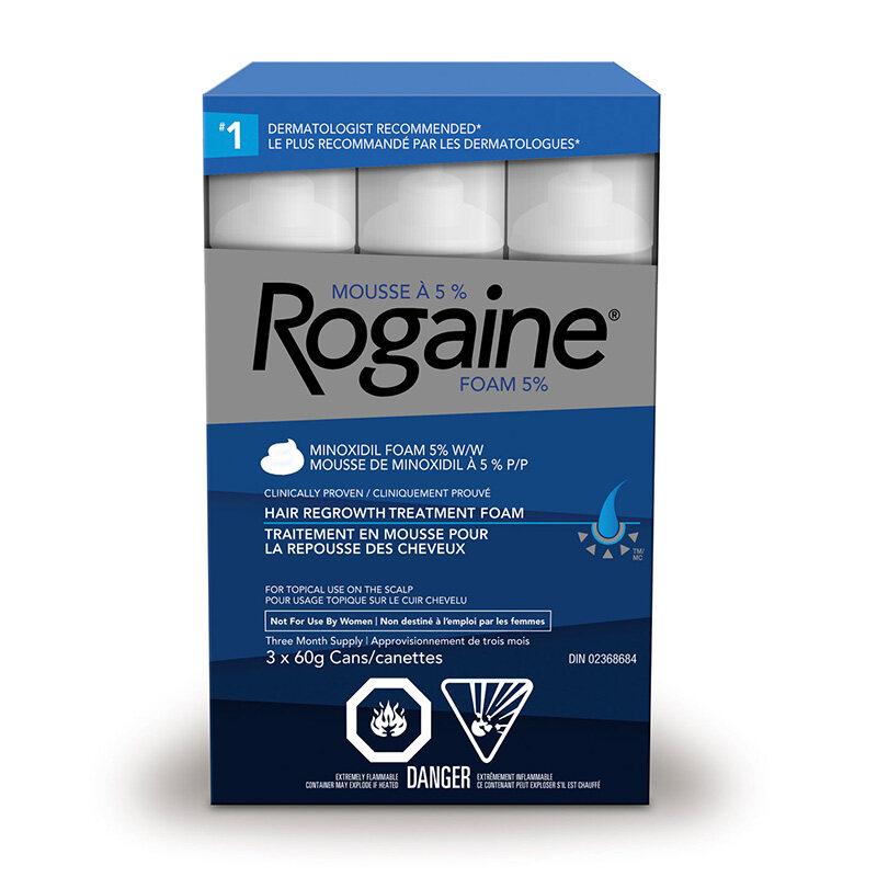mousse ROGAINE® (minoxidil à 5 %) pour la repousse des cheveux, pour hommes