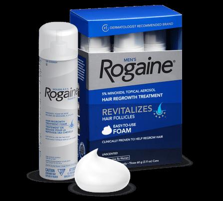 mousse, boîte et canette de traitement pour le repousse des cheveux ROGAINE® pour hommes